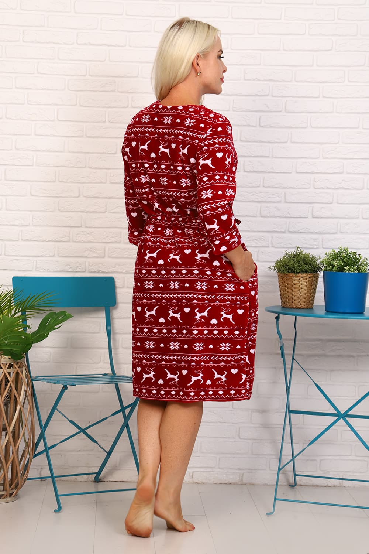 Бордовый велюровый халат на молнии 27635