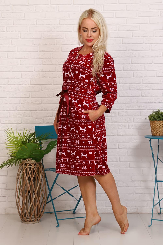 велюровый бордовый халат женский