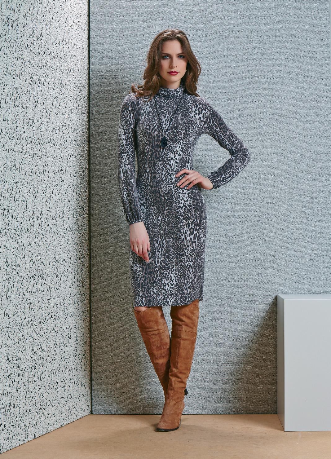 Леопардовое платье TopDesign В4 031