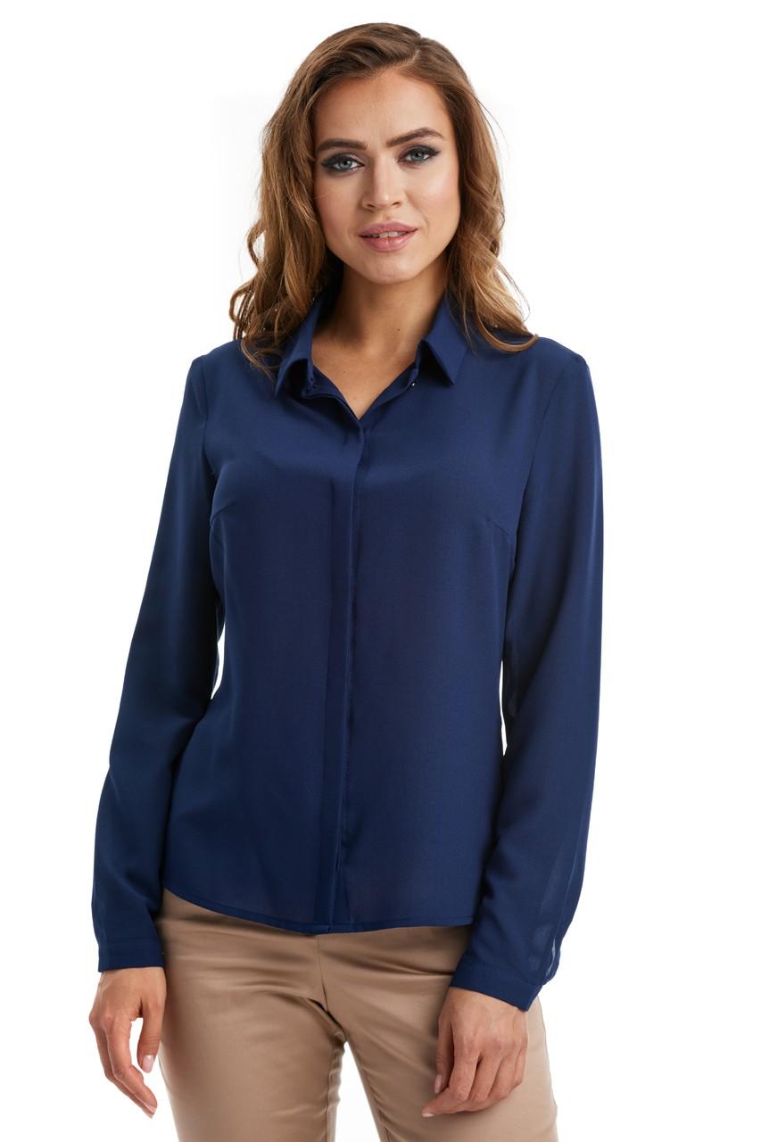 Темно-синяя деловая блузка LalaStyle W02001