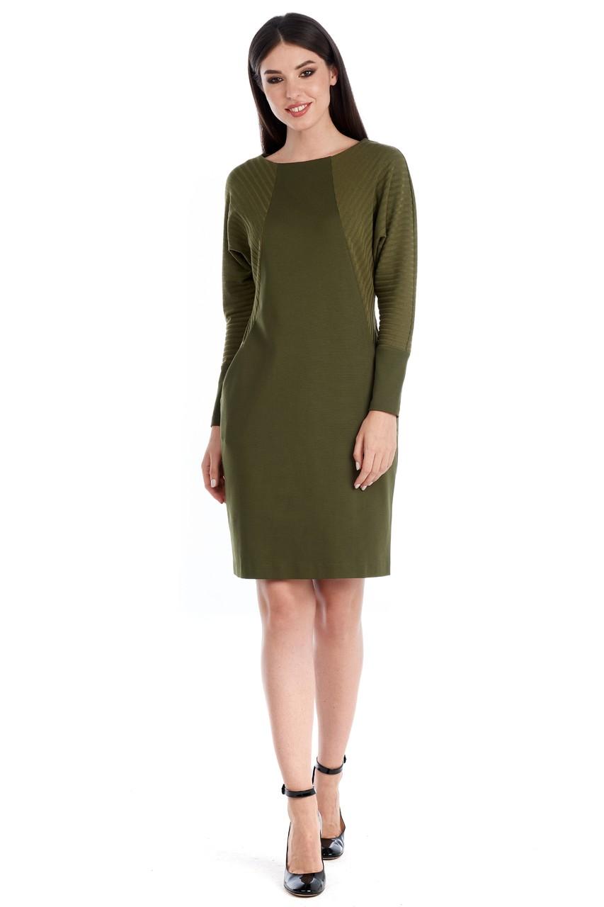 Модное платье цвета хаки LalaStyle W01059