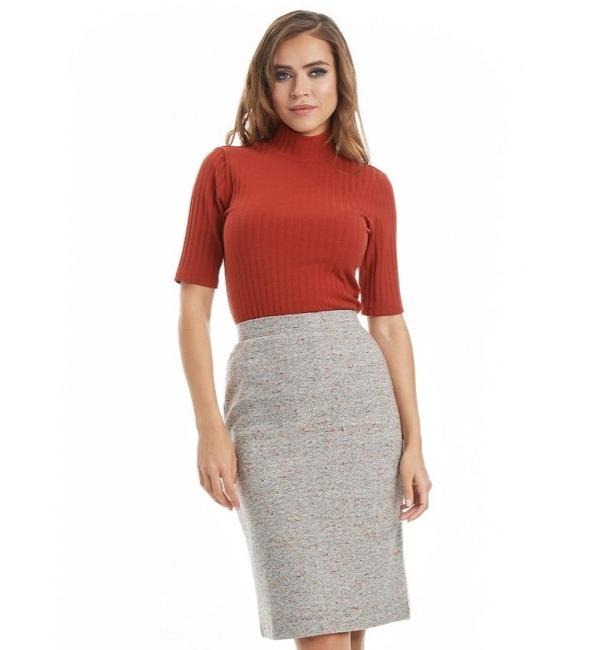 Женская серая юбка LalaStyle W10015