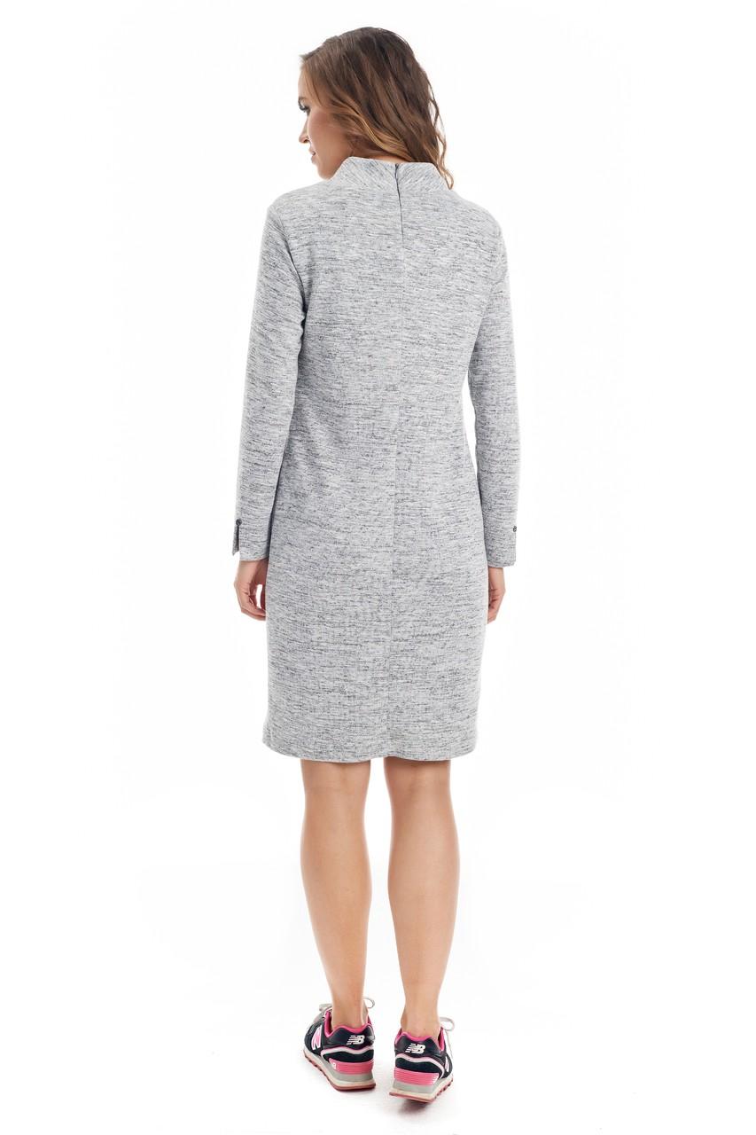 Серое меланжевое платье LalaStyle W01066