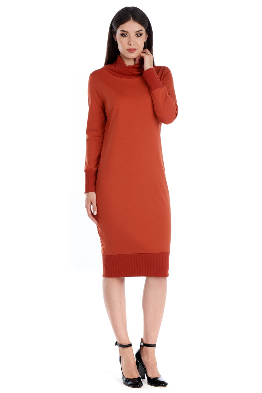 Терракотовое платье LalaStyle W01099