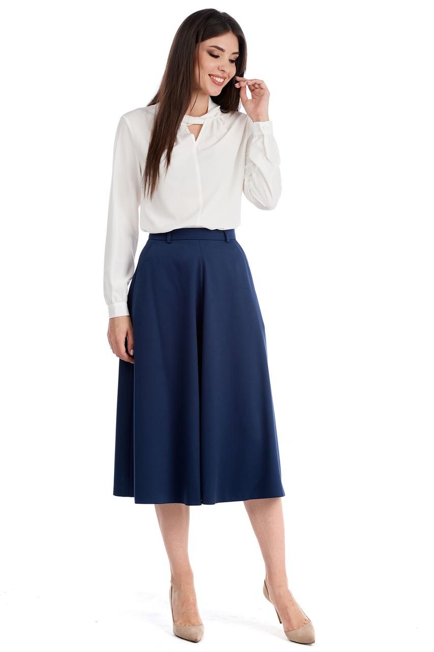 Синяя юбка миди LalaStyle W10022