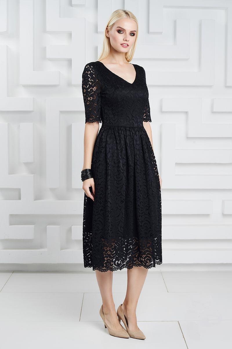 Черное гипюровое платье LalaStyle 1357