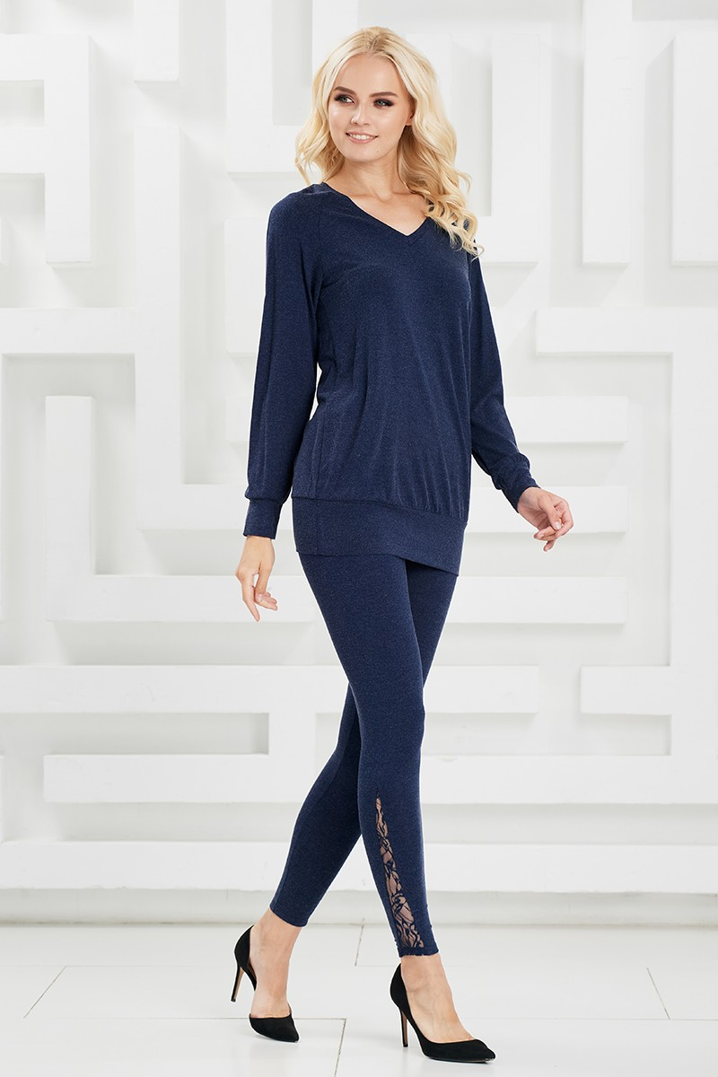Синие леггинсы с декоративной вставкой Lala Style W11051
