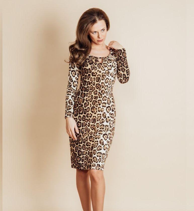 Леопардовое платье Top Design B6 019