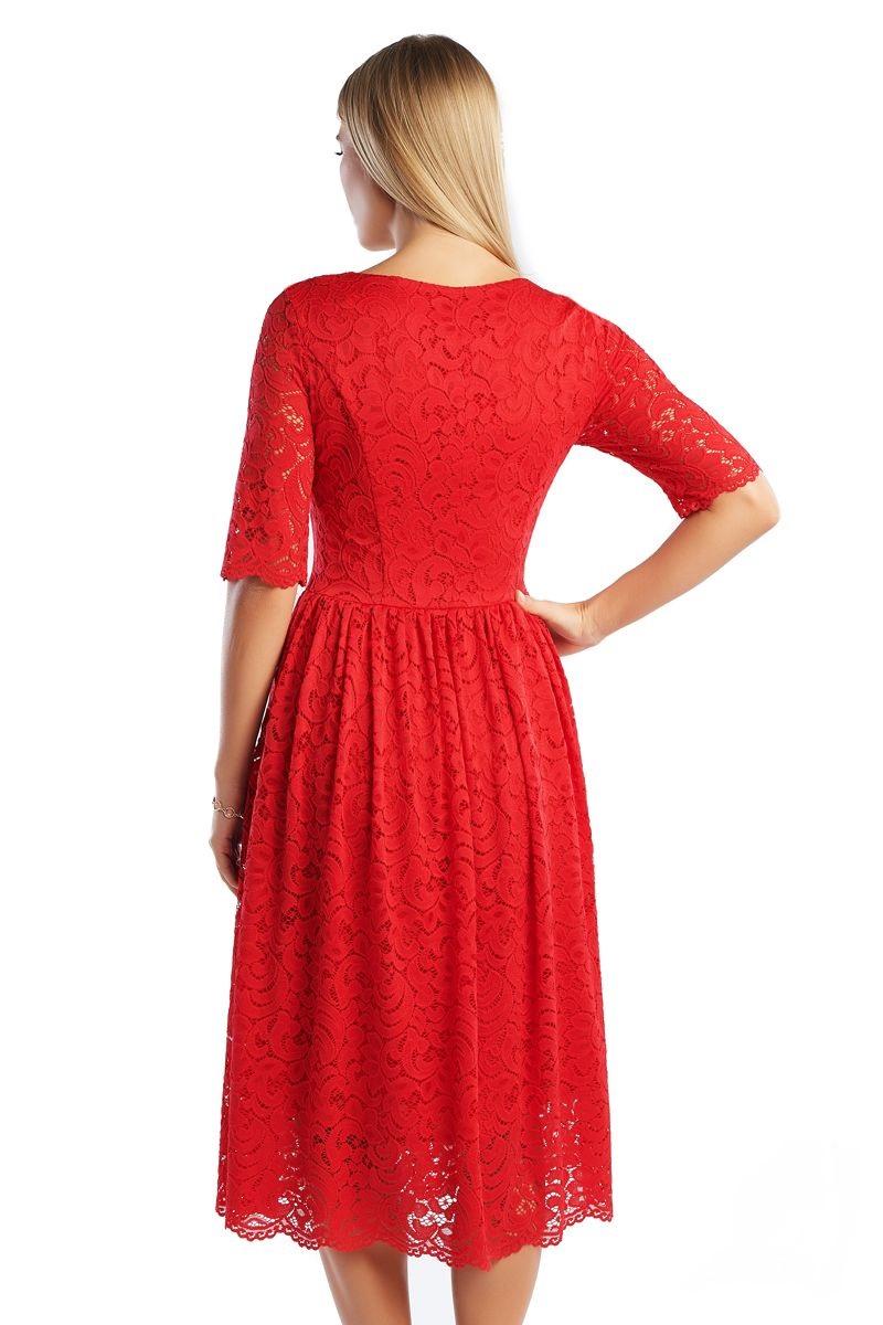 Красное гипюровое платье Lala Style 1357