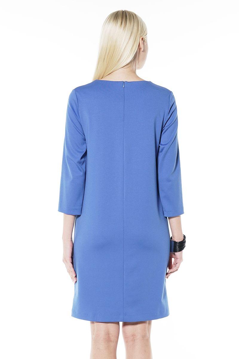 Голубое платье силуэта трапеция Lala Style 1437