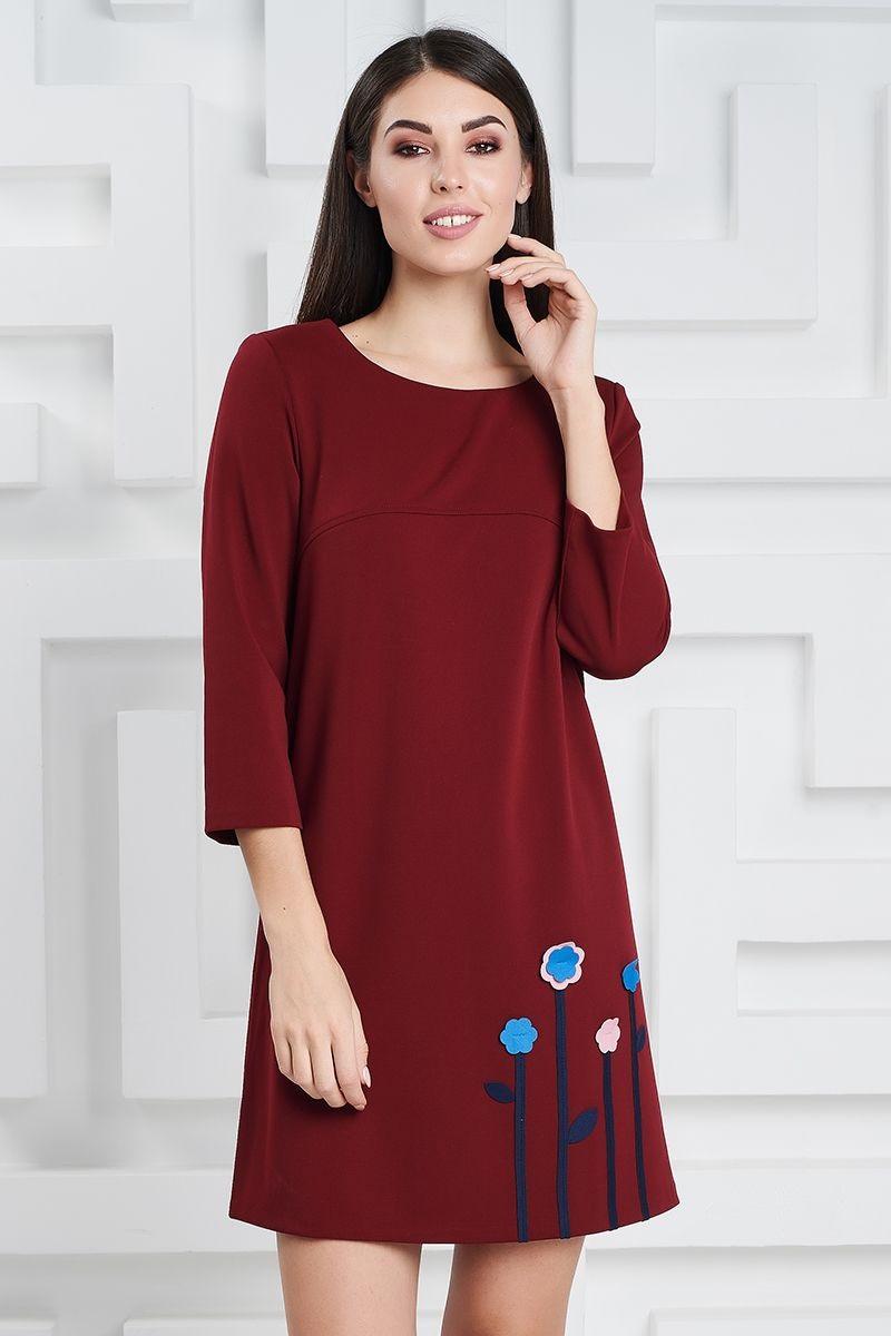 Стильное платье цвета бордо LalaStyle 1309