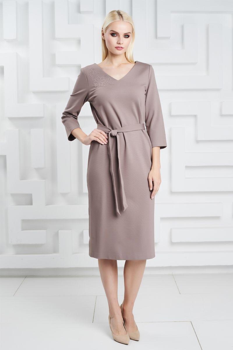 Платье с аппликацией LalaStyle 1324 цвета капучино