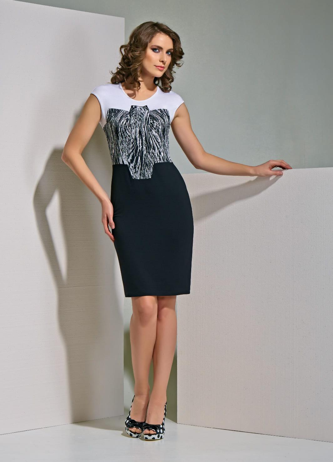 Черно-белое женское платье А4 149
