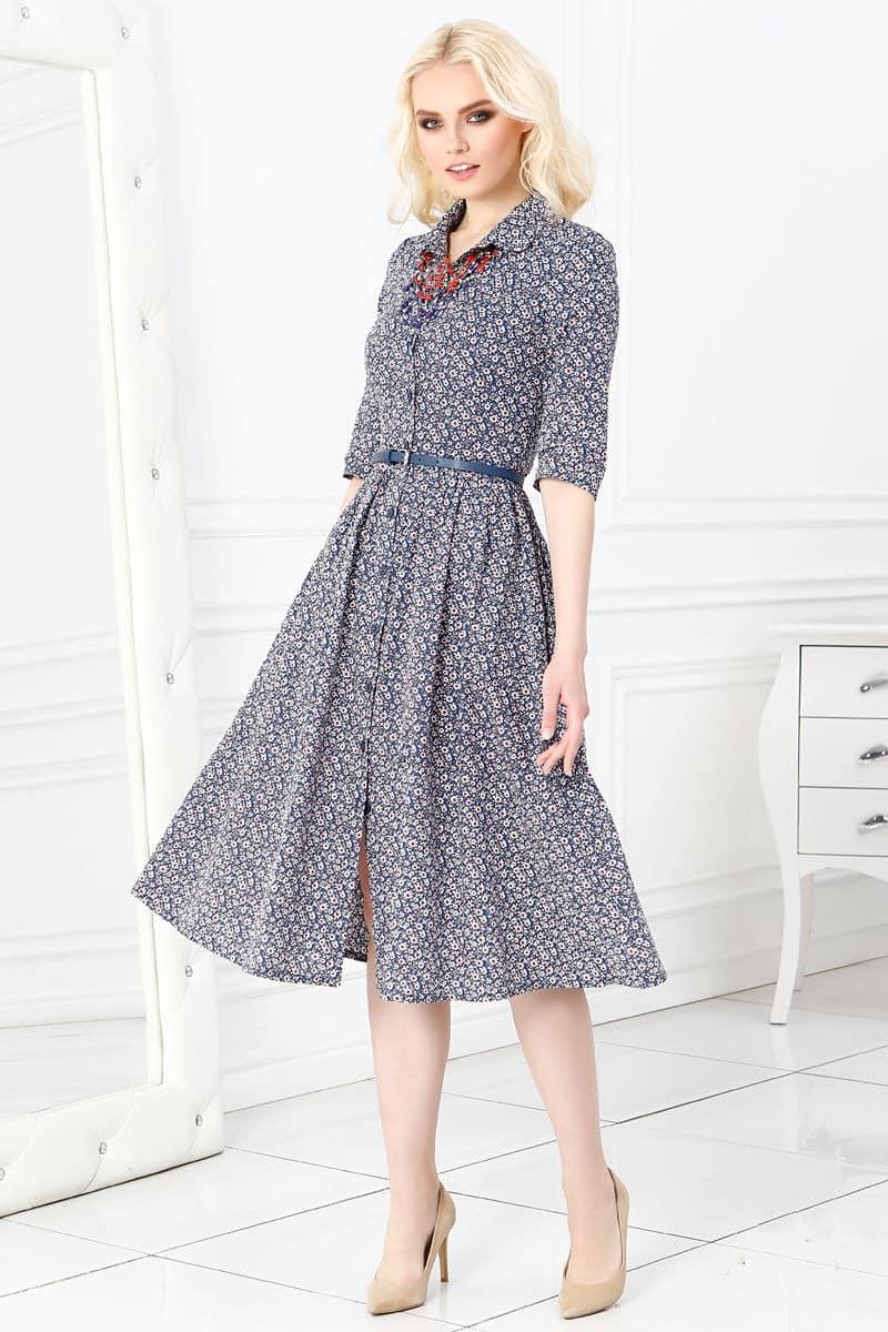 Платье хлопковое на пуговицах Lala Style 1240-142
