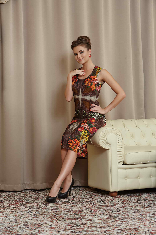 Стильное трикотажное платье РА4 42