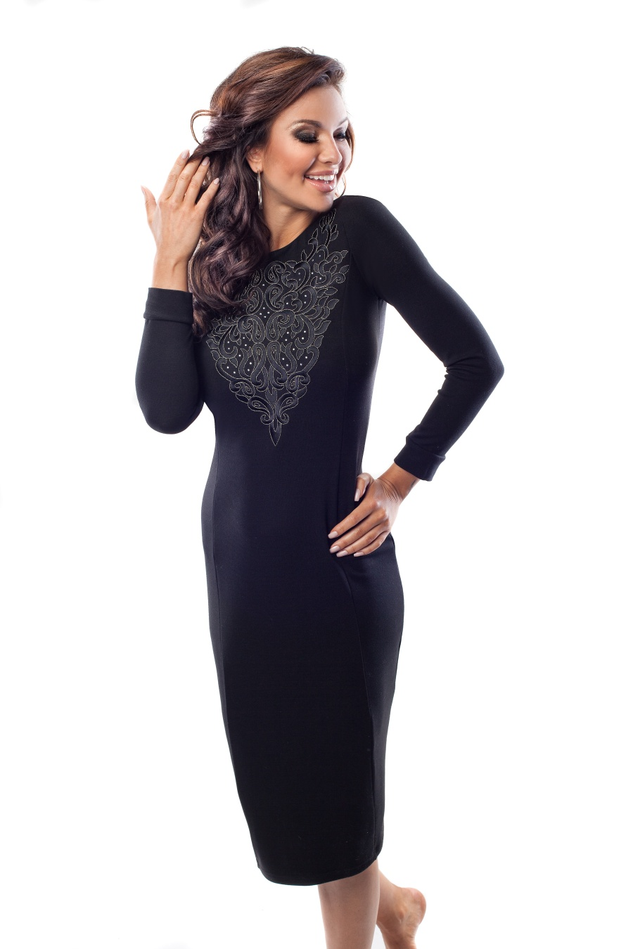 Элегантное черное платье Enny 18030