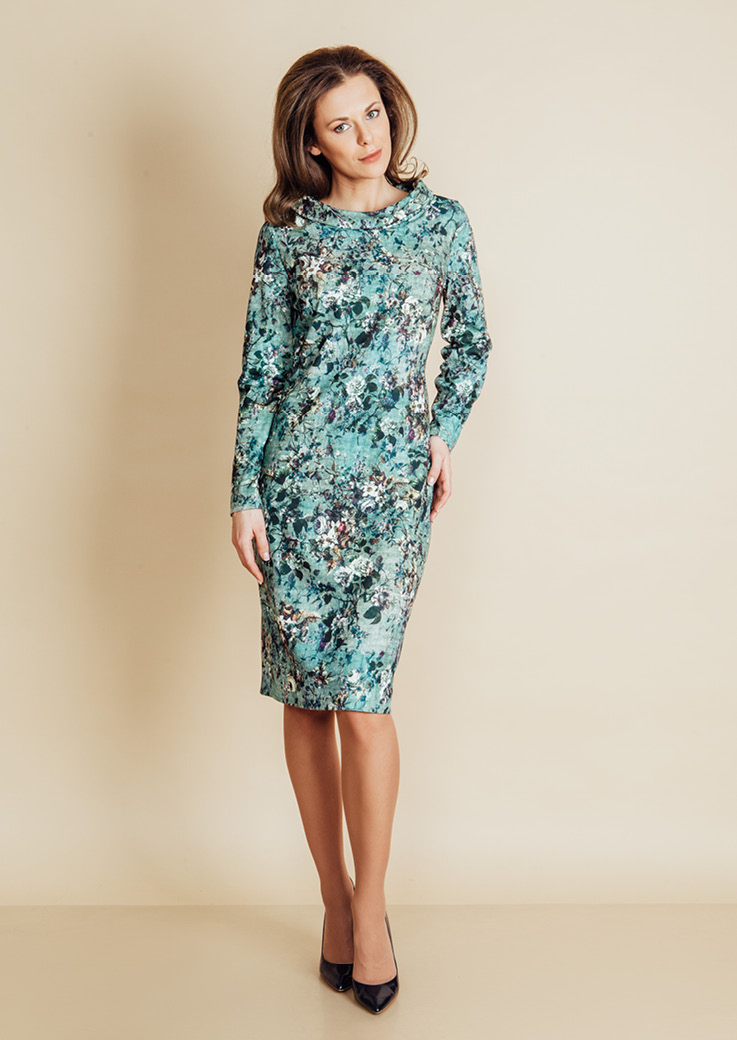 Элегантное бирюзовое платье TopDesign B6 020