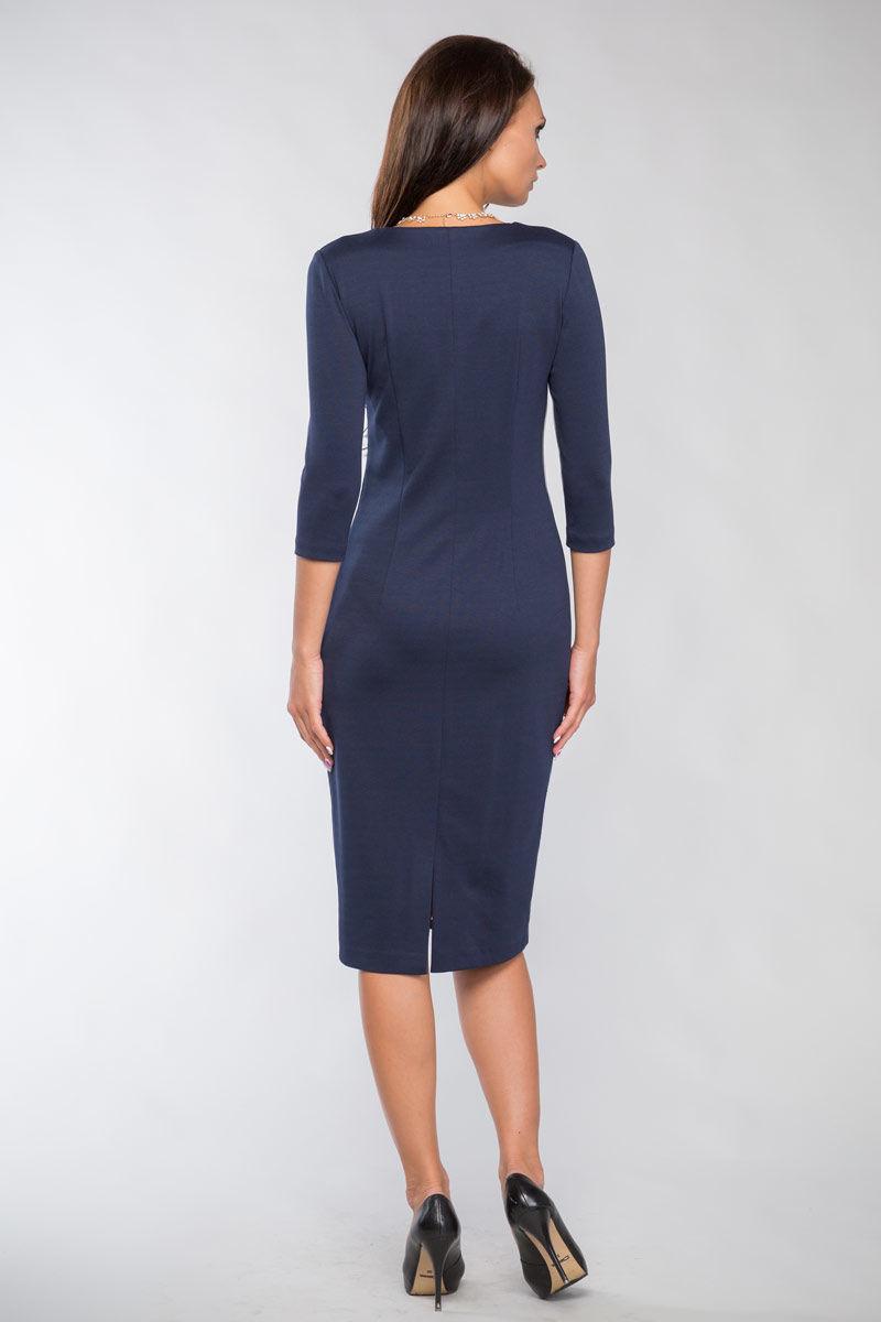 Темно синие платье с лазерной резкой Lala Style 1098-39