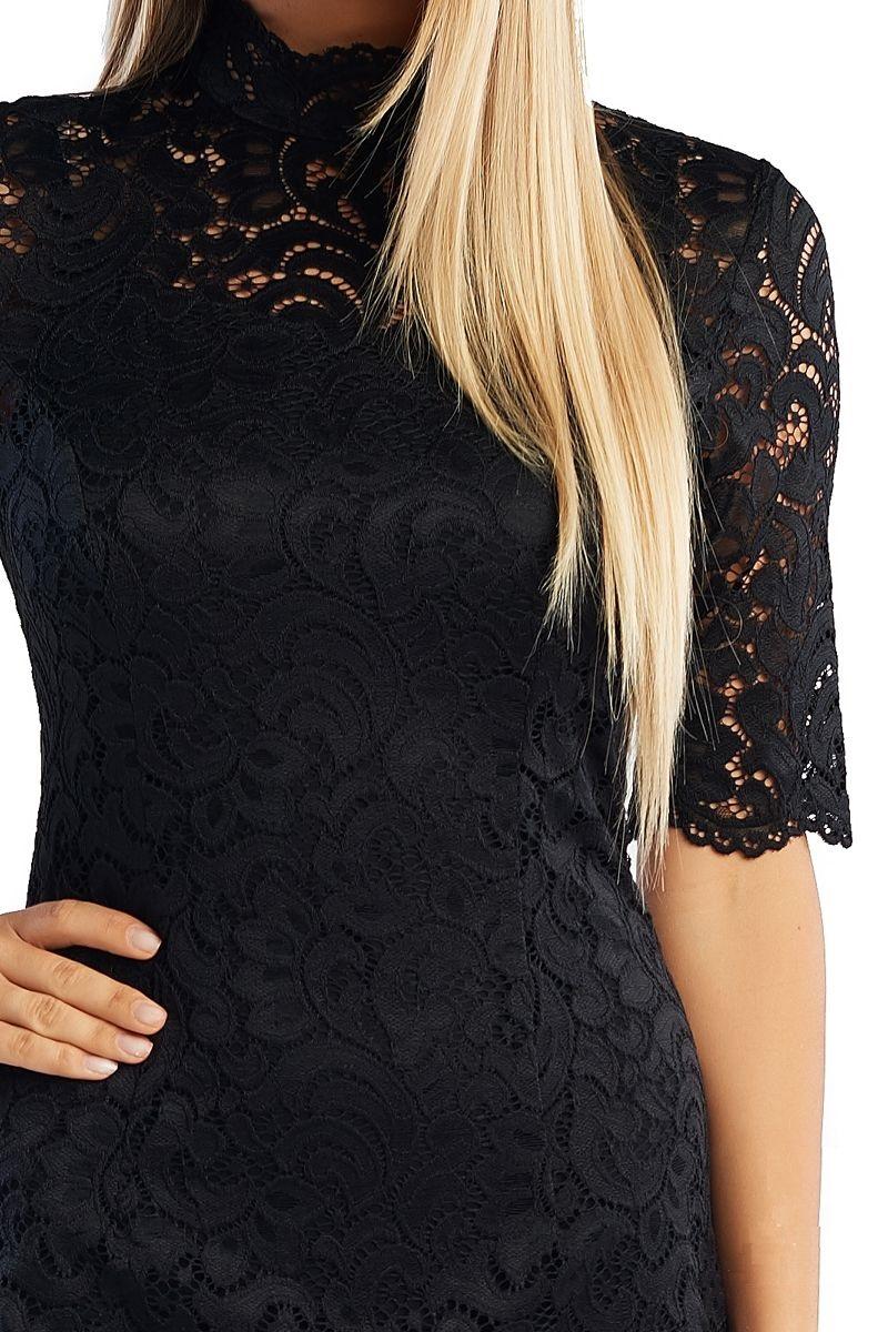 Черное платье из гипюра LalaStyle 1362