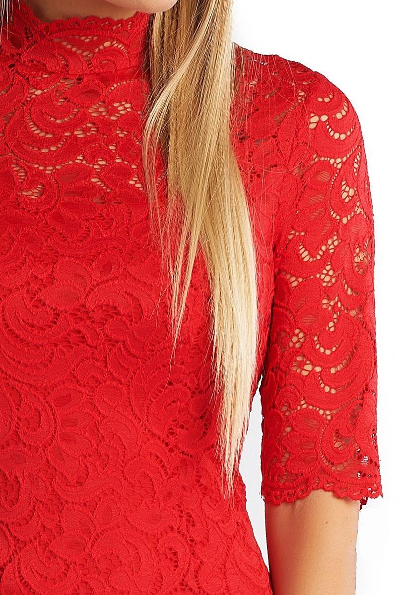 Красное гипюровое платье LalaStyle 1362