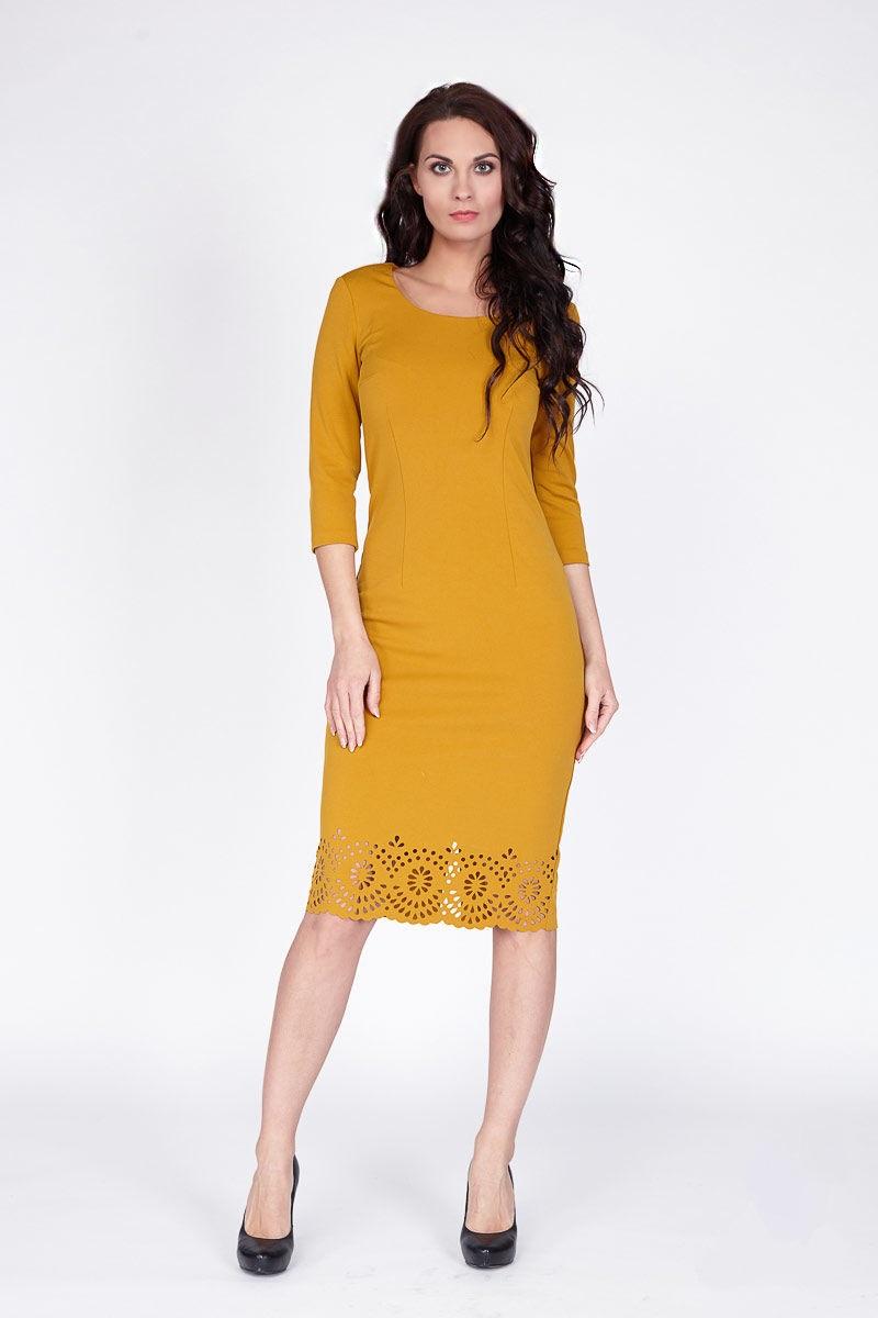 Платье горчичного цвета Lala Style 1098-105