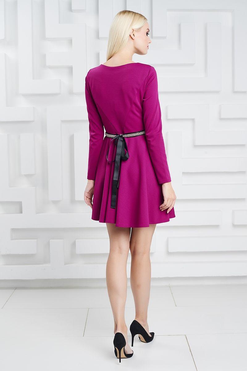 Мини платье LalaStyle 1370 цвет фуксия