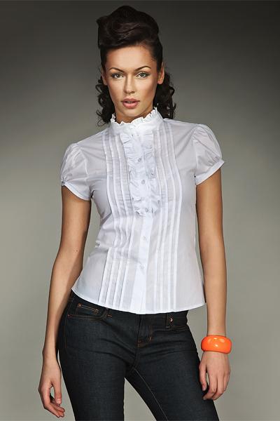 Белая рубашка с коротким рукавом Nife K26