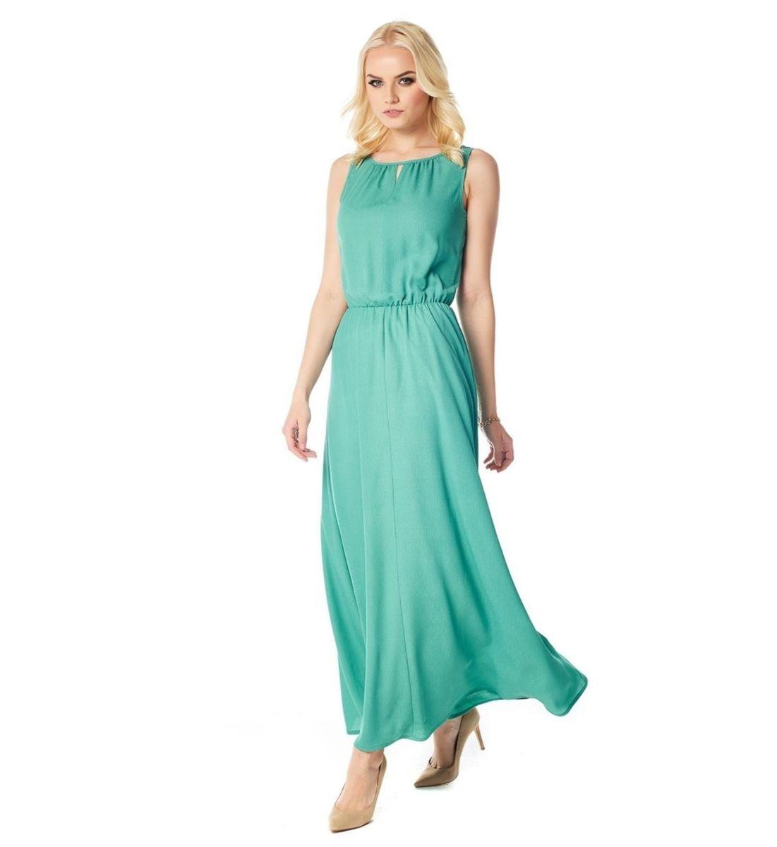 Длинное летние платье зеленого цвета Lala Style 1386