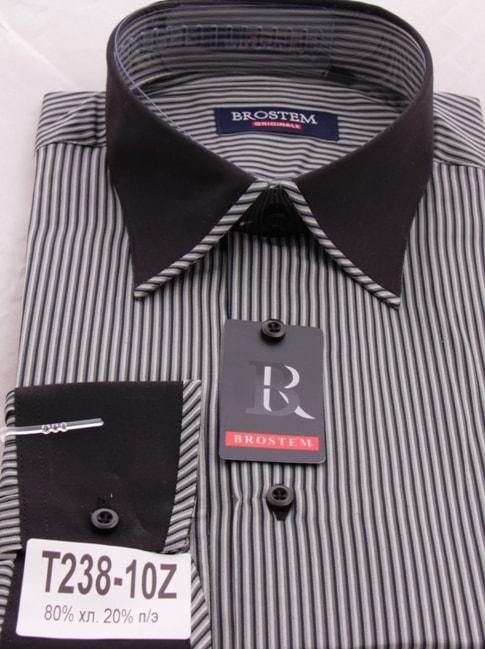 Черно-белая рубашка в полоску с отделкой Brostem T238-10Z