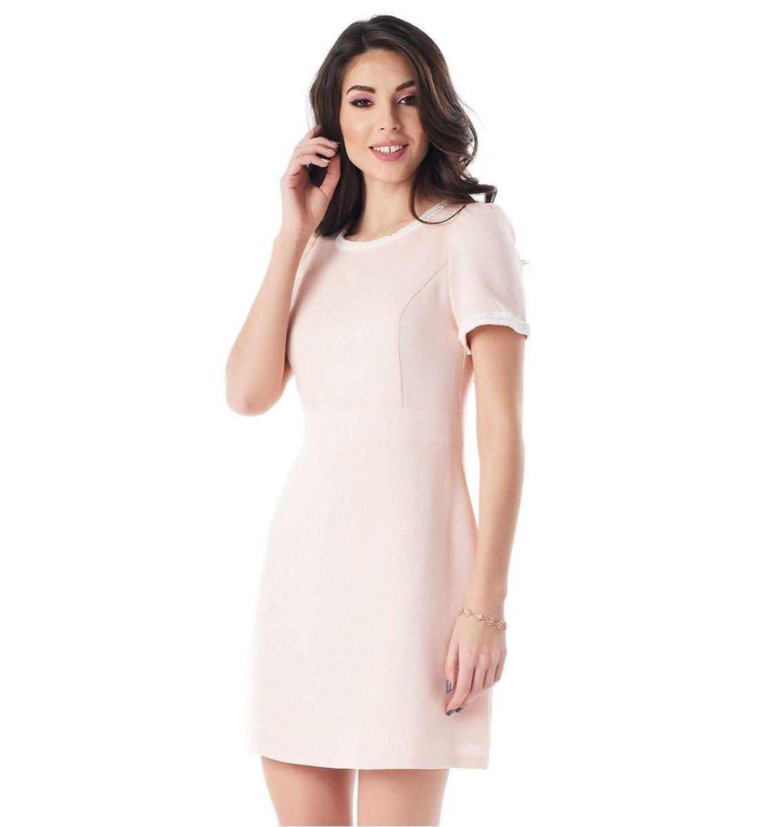 Персиковое летние платье из льна Lala Style 1383