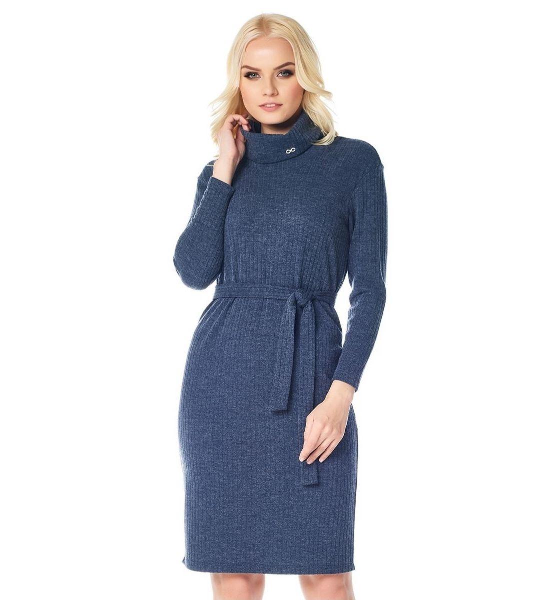 Модное синие платье LalaStyle W01018