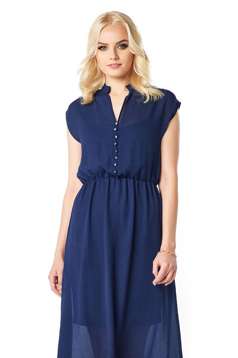 Модное темно-синие платье LalaStyle 1406