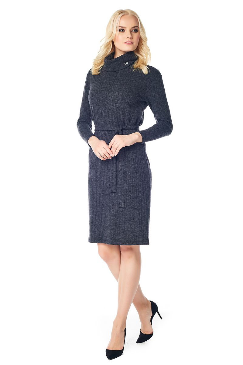 Черное платье с хомутом LalaStyle W01018