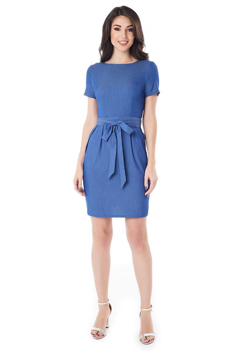 Синие с поясом платье LalaStyle 1404