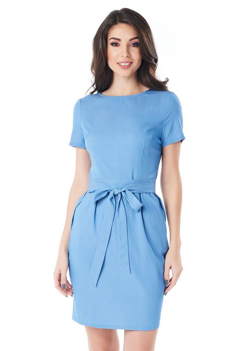 Светло-голубое платье с поясом LalaStyle 1404