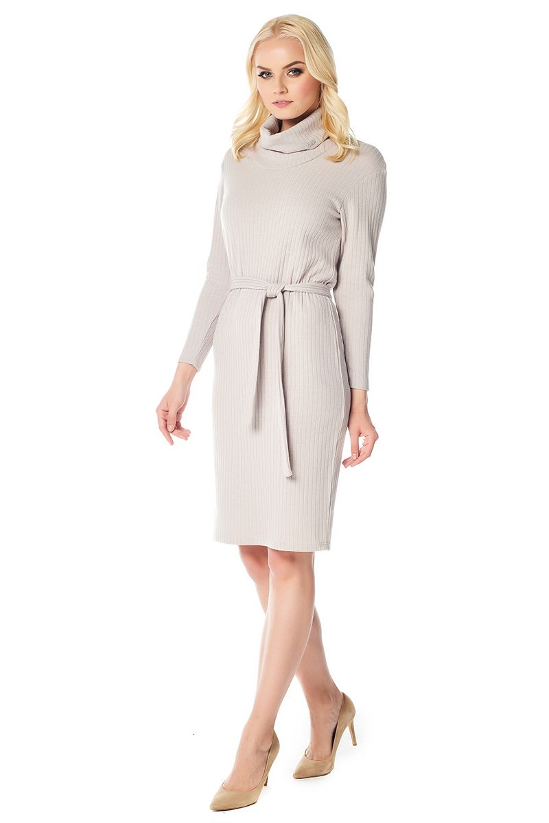 Бежевое женское платье LalaStyle W01018