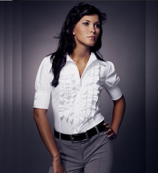 Рубашка белая с жабо и  коротким рукавом Nife K02