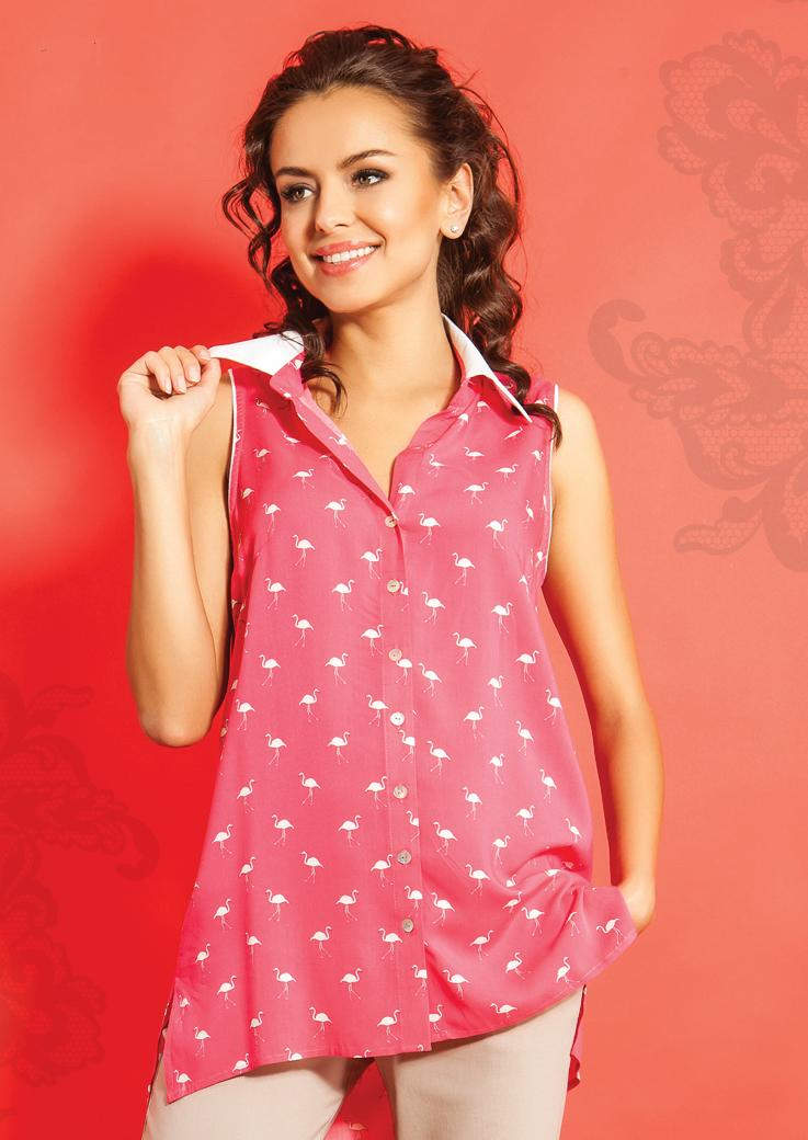 Блузка с фламинго TopDesign А5 091