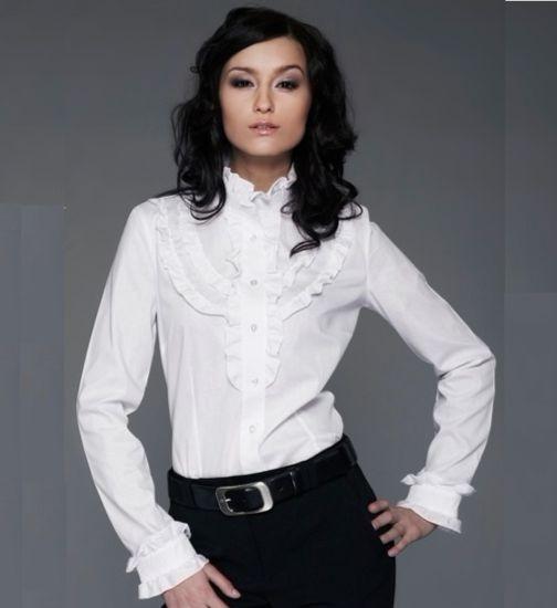 Белая женская рубашка с рюшами Nife К10