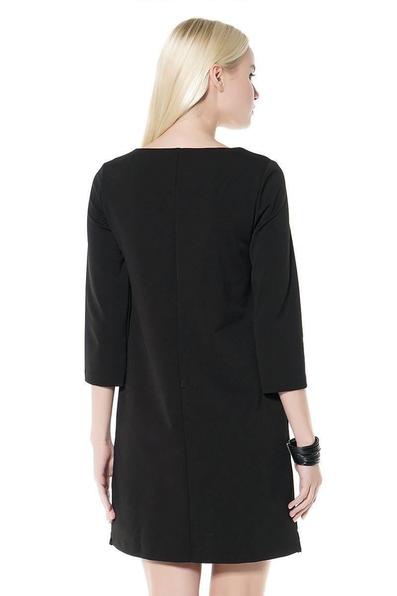 Черное платье с лазерной резкой LalaStyle 1097-27