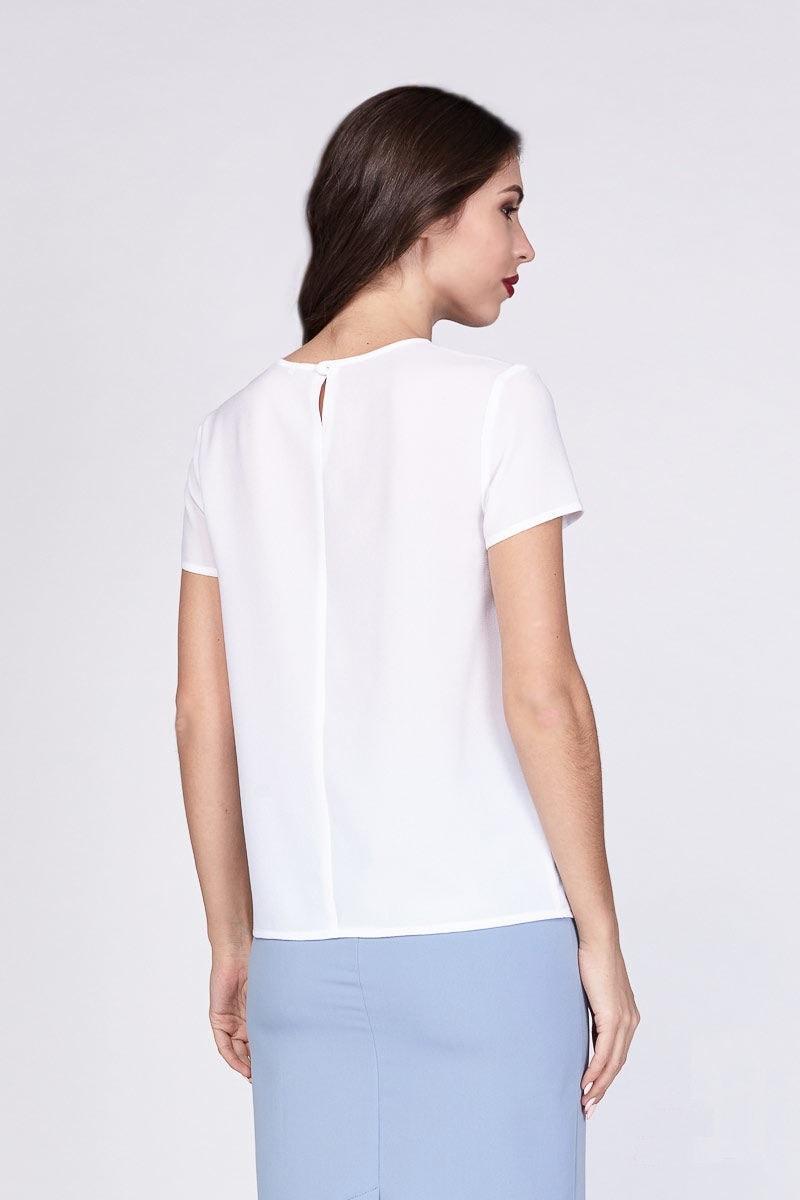 Стильная белая блузка LalaStyle 1202-76