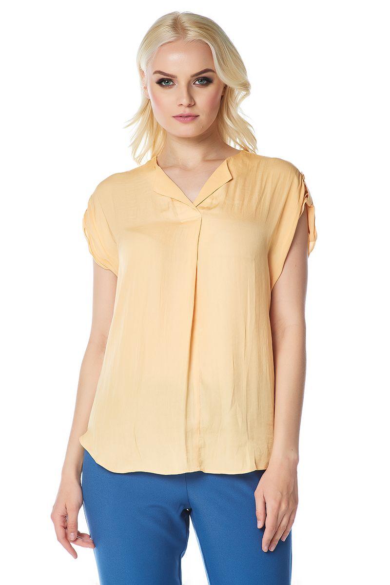 Летняя блузка золотистого оттенка LalaStyle 1408