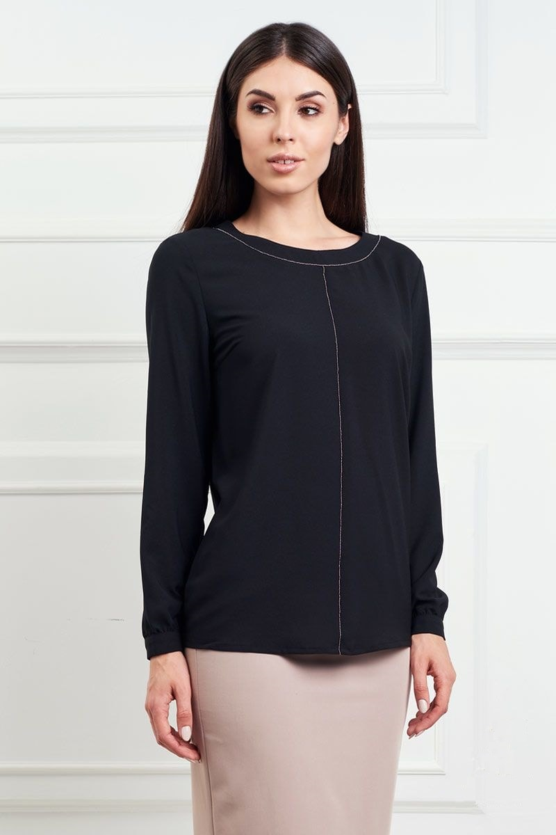 Красивая черная блузка LalaStyle 1313-149
