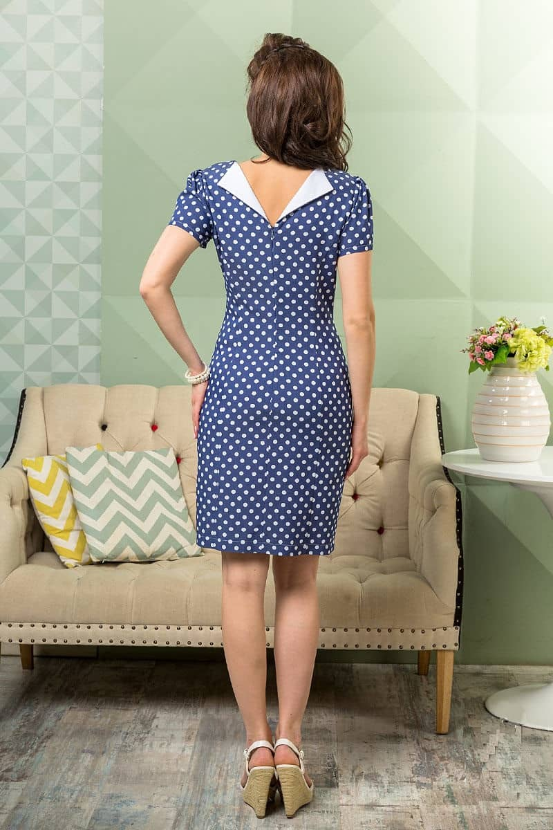 Платье в горошек с коротким рукавом LalaStyle 1022-06