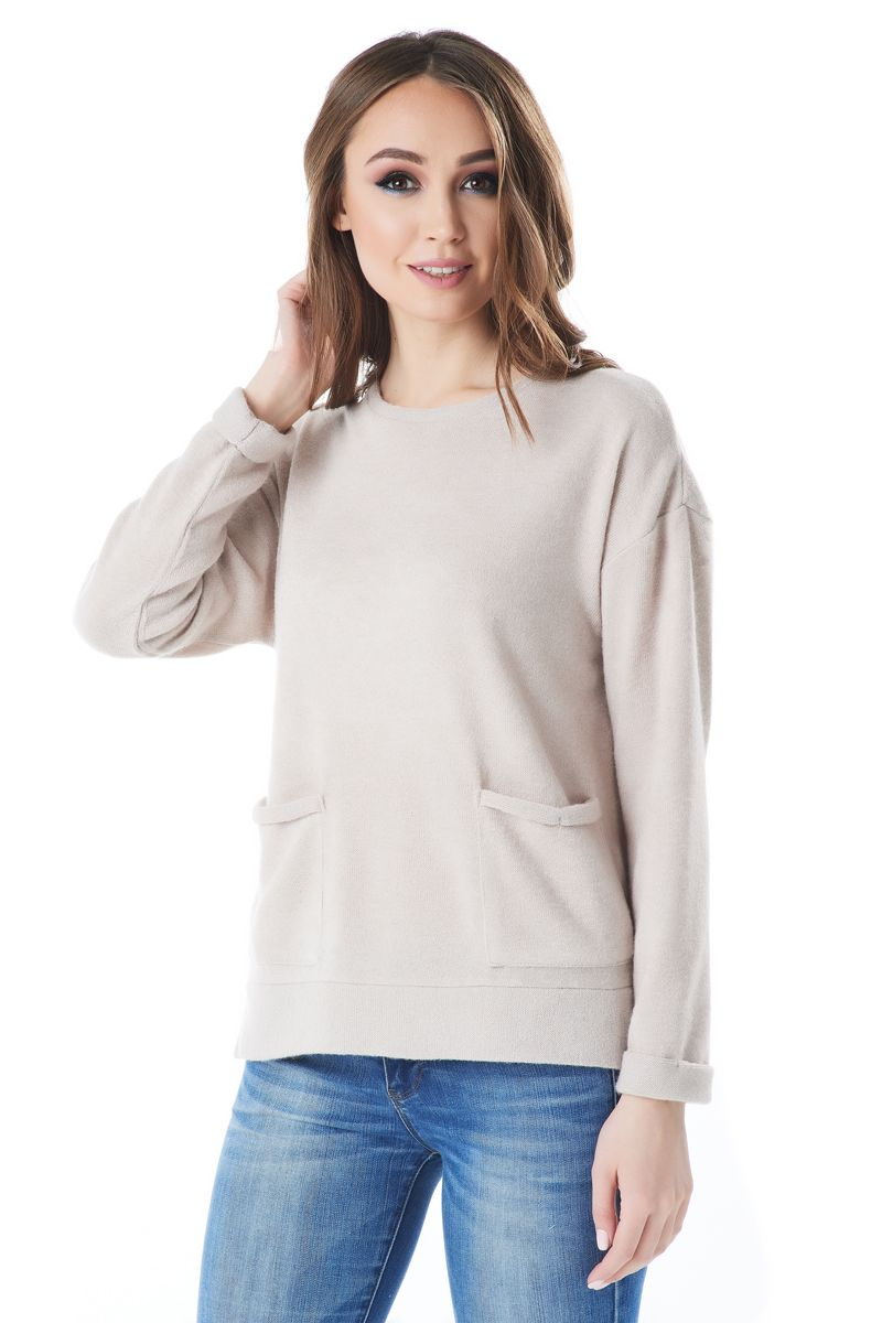 Шерстяная бежевая блузка LalaStyle 1442