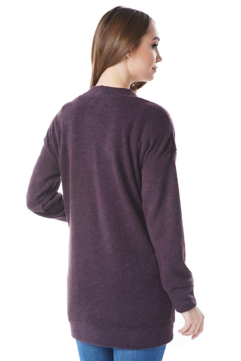 Шерстяной жакет цвета баклажан Lala Style1441