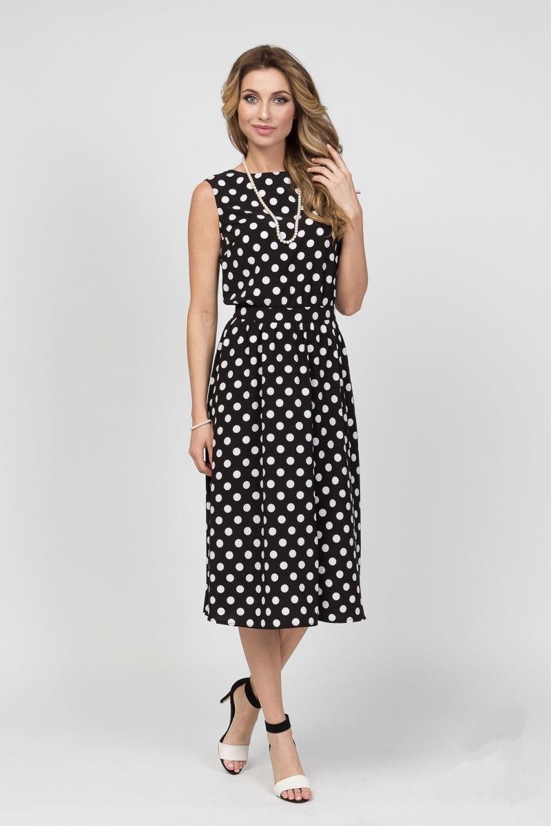 Черное платье в горошек Lala Style 1263-09