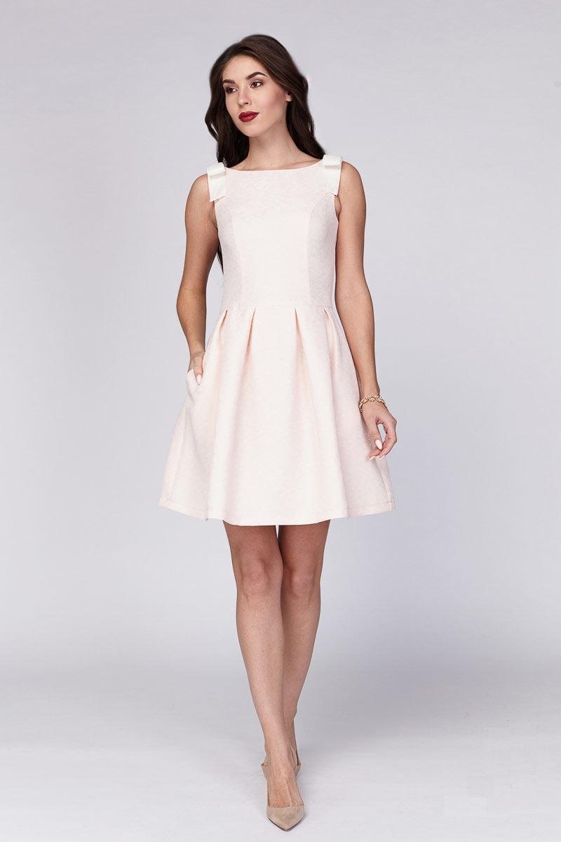 Персиковое платье из льна Lala Style 1228