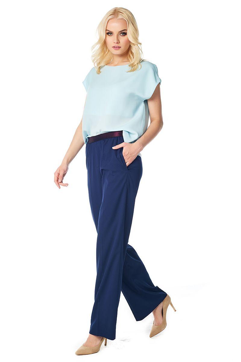 Широкие женские брюки темно-синего цвета LalaStyle 1424
