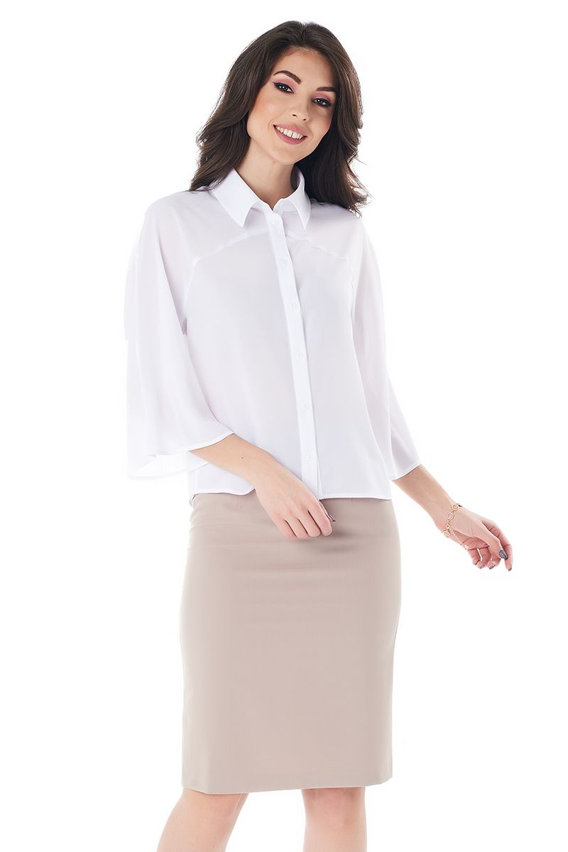 Белая офисная блузка LalaStyle 1373